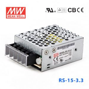 RS-15-3.3 15W 3.3V3A 单路输出明纬开关电源(G3系列-高性能内置有外壳)